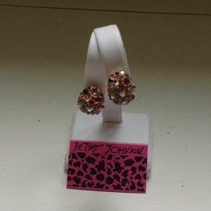 NEW-Multi Jeweled Hugger Earrings-Betsey Johnson